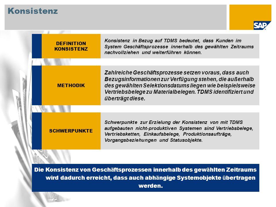 © SAP 2008 / Page 7 Konsistenz DEFINITION KONSISTENZ Konsistenz in Bezug auf TDMS bedeutet, dass Kunden im System Geschäftsprozesse innerhalb des gewä