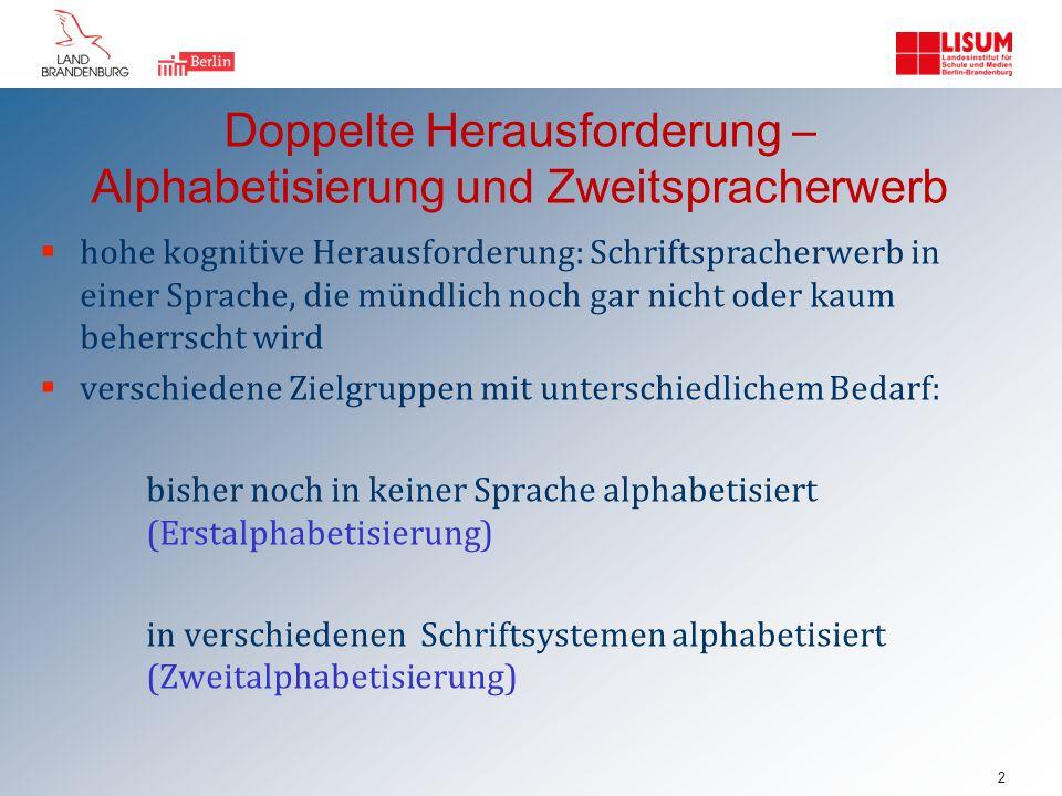 Doppelte Herausforderung – Alphabetisierung und Zweitspracherwerb  hohe kognitive Herausforderung: Schriftspracherwerb in einer Sprache, die mündlich