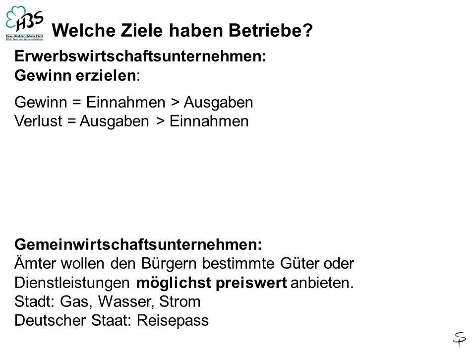 Gemeinwirtschaftsunternehmen: Die Ämter der Stadt Fürth oder die Bundesbehörden wollen den Bürgern bestimmte Güter oder Dienstleistungen möglichst preiswert anbieten.