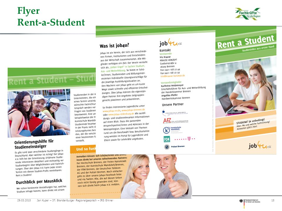 Flyer Rent-a-Student 15Jan Kuper – 37. Brandenburger Regionalgespräch – IRS Erkner29.03.2015
