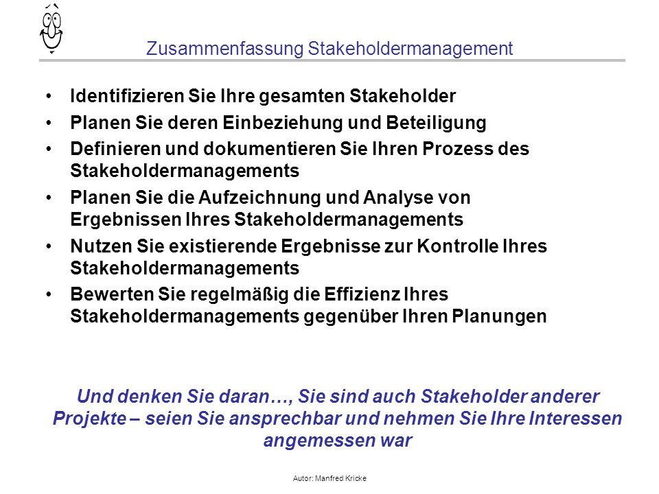 Autor: Manfred Kricke Zusammenfassung Stakeholdermanagement Identifizieren Sie Ihre gesamten Stakeholder Planen Sie deren Einbeziehung und Beteiligung