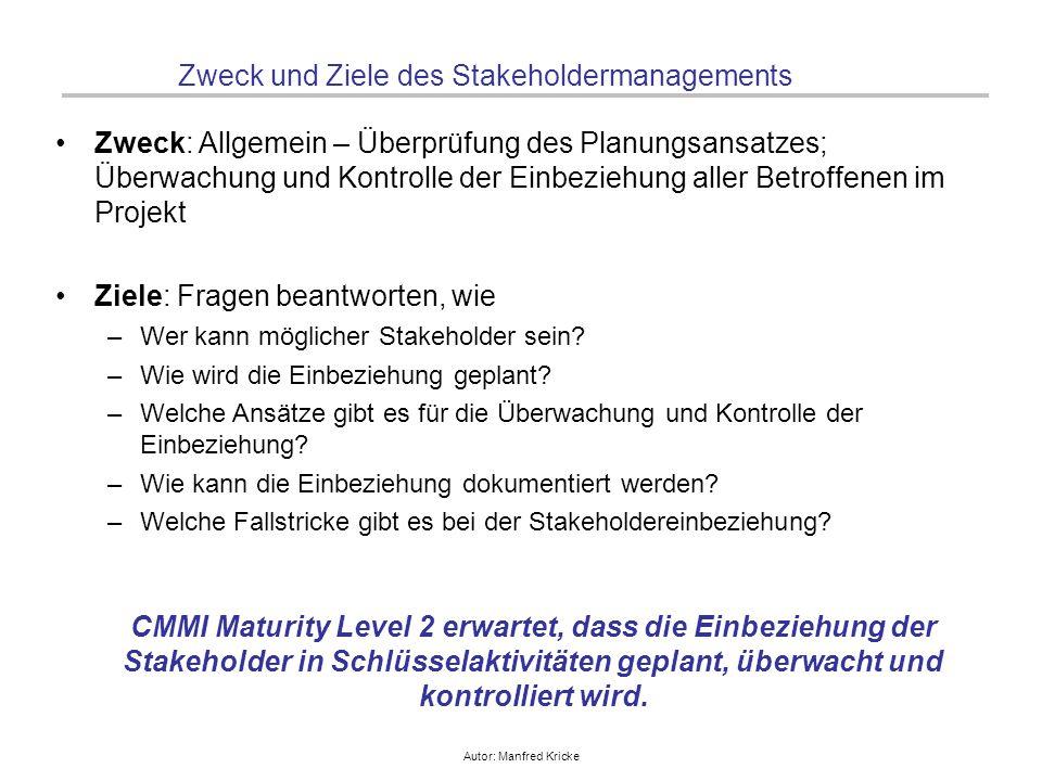 Autor: Manfred Kricke Zweck und Ziele des Stakeholdermanagements Zweck: Allgemein – Überprüfung des Planungsansatzes; Überwachung und Kontrolle der Ei