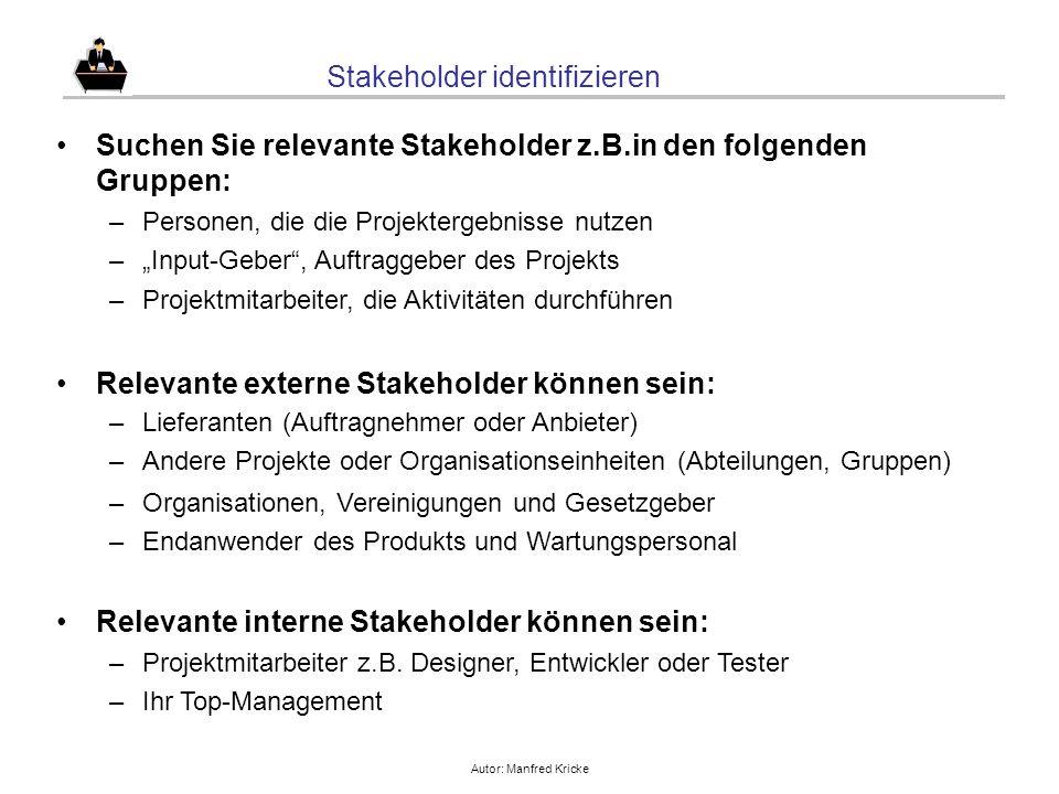 Autor: Manfred Kricke Stakeholder identifizieren Suchen Sie relevante Stakeholder z.B.in den folgenden Gruppen: –Personen, die die Projektergebnisse n