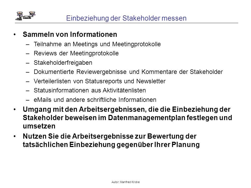 Autor: Manfred Kricke Einbeziehung der Stakeholder messen Sammeln von Informationen –Teilnahme an Meetings und Meetingprotokolle –Reviews der Meetingp