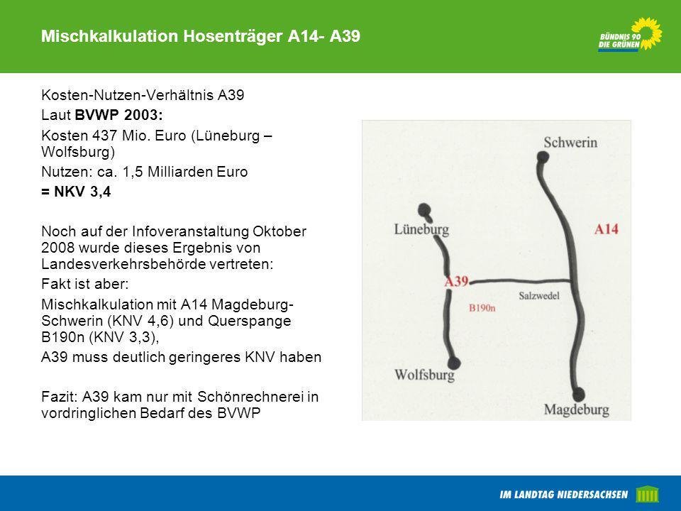 Mischkalkulation Hosenträger A14- A39 Kosten-Nutzen-Verhältnis A39 Laut BVWP 2003: Kosten 437 Mio. Euro (Lüneburg – Wolfsburg) Nutzen: ca. 1,5 Milliar