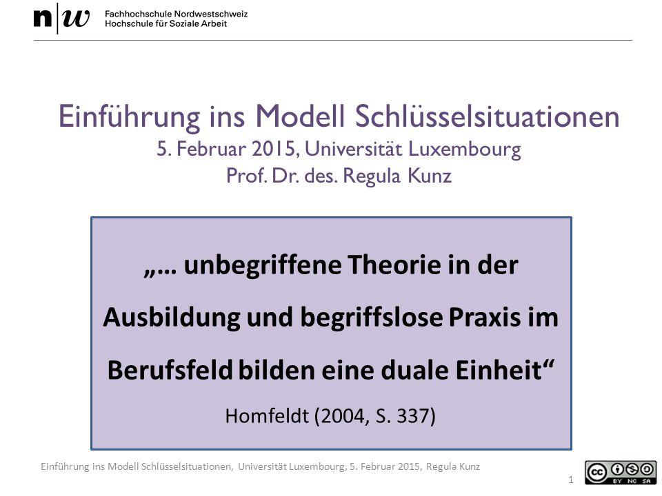 Einführung ins Modell Schlüsselsituationen, Universität Luxembourg, 5. Februar 2015, Regula Kunz Einführung ins Modell Schlüsselsituationen 5. Februar