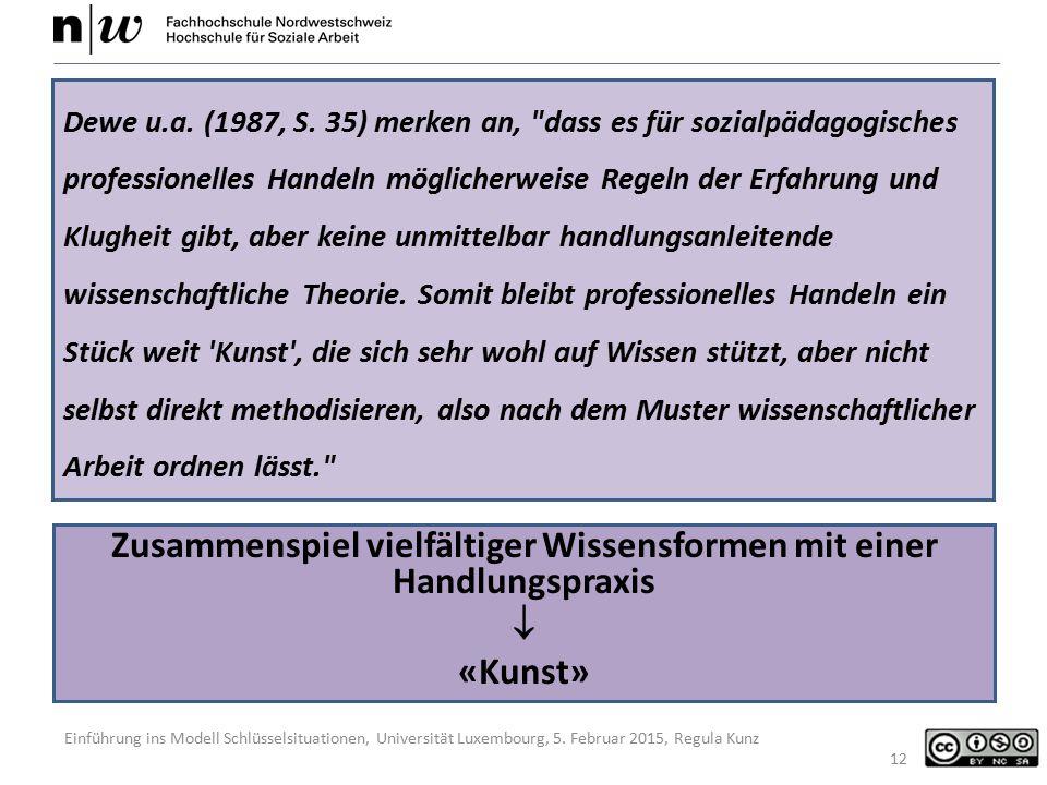Einführung ins Modell Schlüsselsituationen, Universität Luxembourg, 5. Februar 2015, Regula Kunz Zusammenspiel vielfältiger Wissensformen mit einer Ha