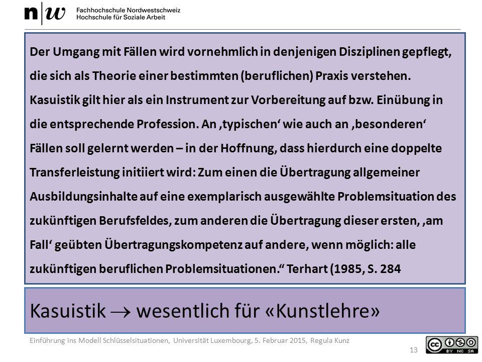 Einführung ins Modell Schlüsselsituationen, Universität Luxembourg, 5. Februar 2015, Regula Kunz Kasuistik  wesentlich für «Kunstlehre» Der Umgang mi