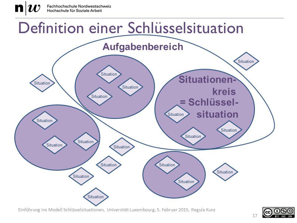Einführung ins Modell Schlüsselsituationen, Universität Luxembourg, 5. Februar 2015, Regula Kunz Definition einer Schlüsselsituation 17 Situation Situ