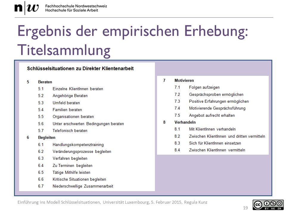 Einführung ins Modell Schlüsselsituationen, Universität Luxembourg, 5. Februar 2015, Regula Kunz Ergebnis der empirischen Erhebung: Titelsammlung 19