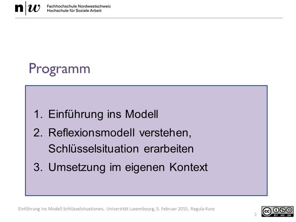 Einführung ins Modell Schlüsselsituationen, Universität Luxembourg, 5. Februar 2015, Regula Kunz 1.Einführung ins Modell 2.Reflexionsmodell verstehen,