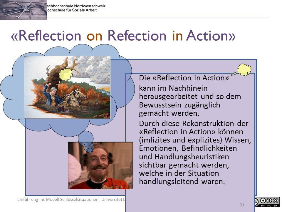 Einführung ins Modell Schlüsselsituationen, Universität Luxembourg, 5. Februar 2015, Regula Kunz «Reflection on Refection in Action» Die «Reflection i