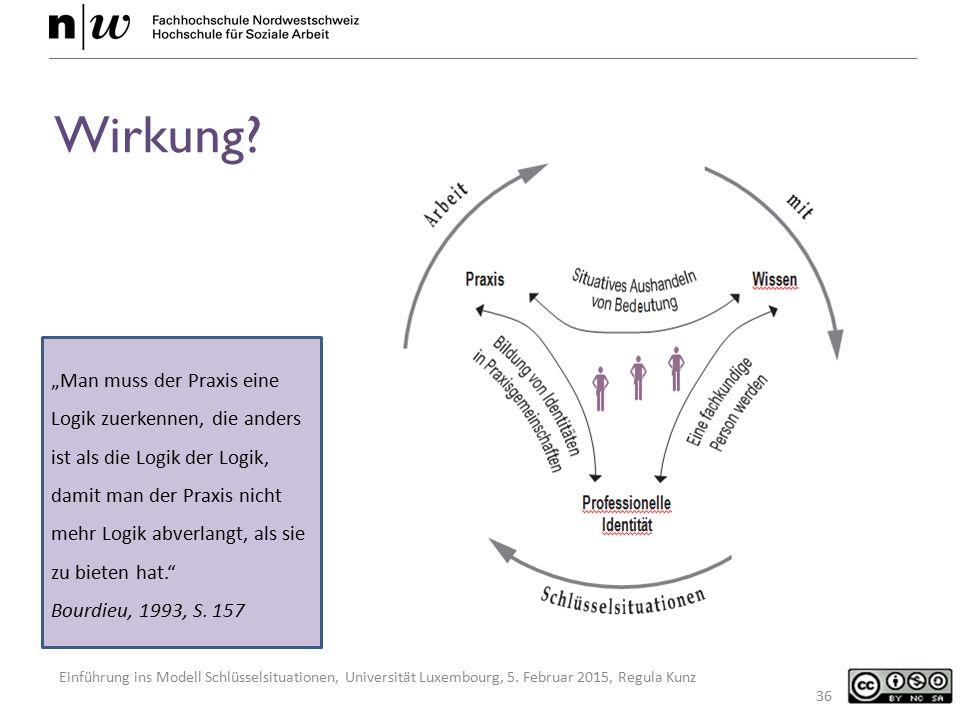 "Einführung ins Modell Schlüsselsituationen, Universität Luxembourg, 5. Februar 2015, Regula Kunz 36 ""Man muss der Praxis eine Logik zuerkennen, die an"
