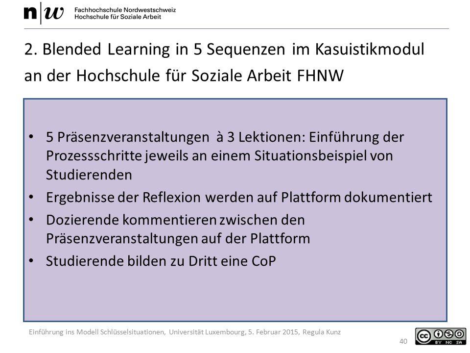 Einführung ins Modell Schlüsselsituationen, Universität Luxembourg, 5. Februar 2015, Regula Kunz 40 2. Blended Learning in 5 Sequenzen im Kasuistikmod