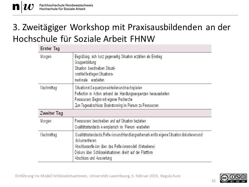 Einführung ins Modell Schlüsselsituationen, Universität Luxembourg, 5. Februar 2015, Regula Kunz 41 3. Zweitägiger Workshop mit Praxisausbildenden an