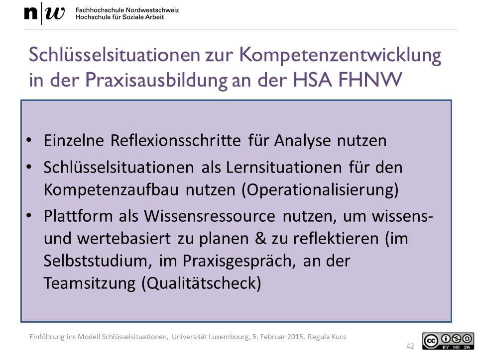 Einführung ins Modell Schlüsselsituationen, Universität Luxembourg, 5. Februar 2015, Regula Kunz Schlüsselsituationen zur Kompetenzentwicklung in der