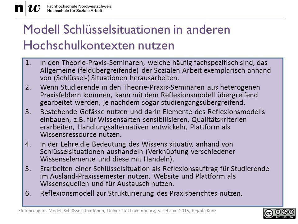 Einführung ins Modell Schlüsselsituationen, Universität Luxembourg, 5. Februar 2015, Regula Kunz Modell Schlüsselsituationen in anderen Hochschulkonte