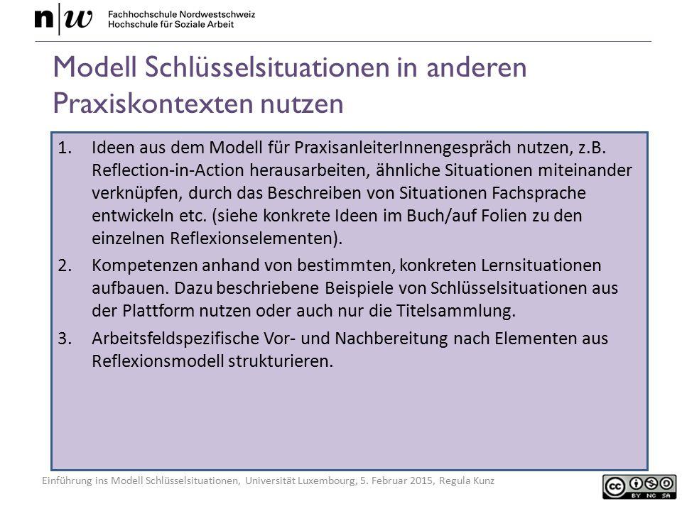 Einführung ins Modell Schlüsselsituationen, Universität Luxembourg, 5. Februar 2015, Regula Kunz Modell Schlüsselsituationen in anderen Praxiskontexte