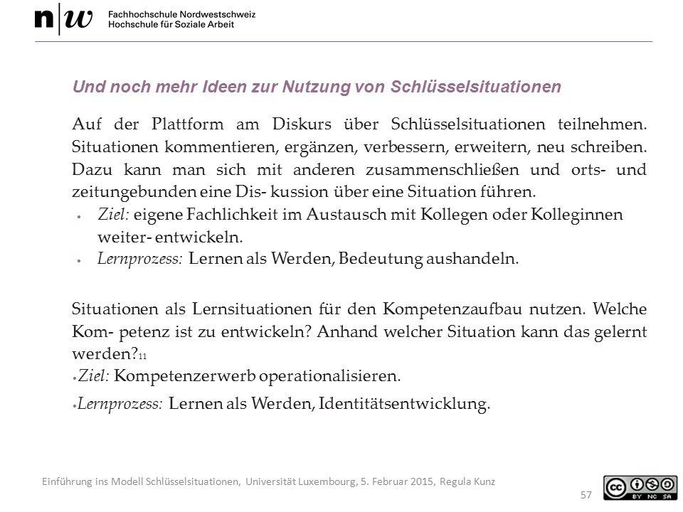 Einführung ins Modell Schlüsselsituationen, Universität Luxembourg, 5. Februar 2015, Regula Kunz 57 Und noch mehr Ideen zur Nutzung von Schlüsselsitua