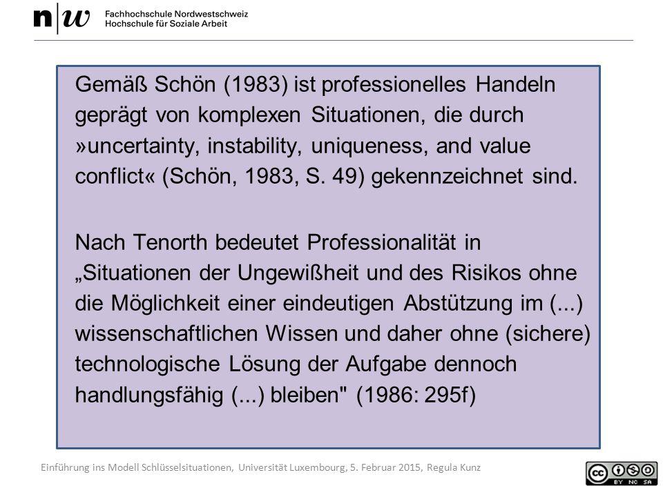 Einführung ins Modell Schlüsselsituationen, Universität Luxembourg, 5. Februar 2015, Regula Kunz Gemäß Schön (1983) ist professionelles Handeln gepräg