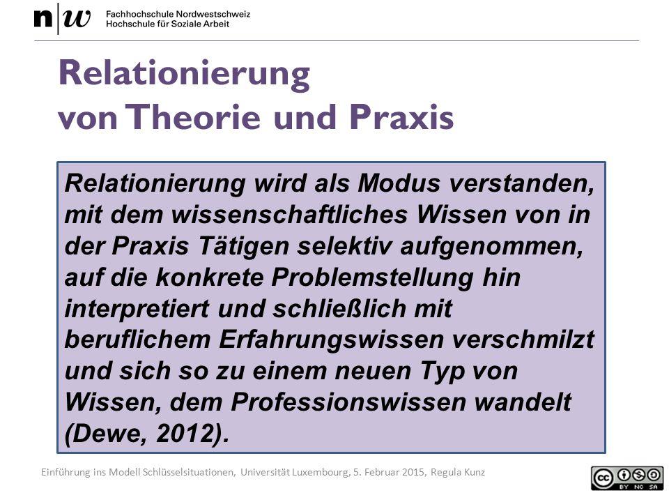 Einführung ins Modell Schlüsselsituationen, Universität Luxembourg, 5. Februar 2015, Regula Kunz Relationierung wird als Modus verstanden, mit dem wis
