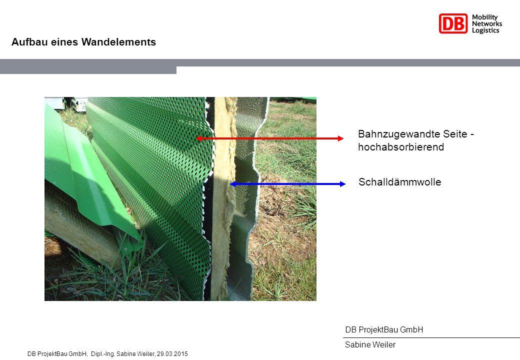 DB ProjektBau GmbH Sabine Weiler Aufbau eines Wandelements Bahnzugewandte Seite - hochabsorbierend Schalldämmwolle DB ProjektBau GmbH, Dipl.-Ing.