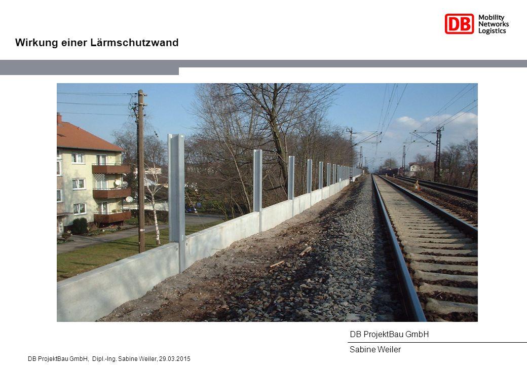 DB ProjektBau GmbH Sabine Weiler Wirkung einer Lärmschutzwand DB ProjektBau GmbH, Dipl.-Ing. Sabine Weiler, 29.03.2015
