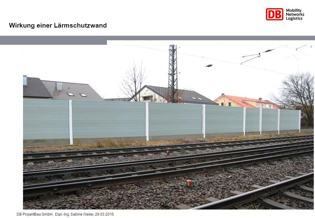 Wirkung einer Lärmschutzwand DB ProjektBau GmbH, Dipl.-Ing. Sabine Weiler, 29.03.2015