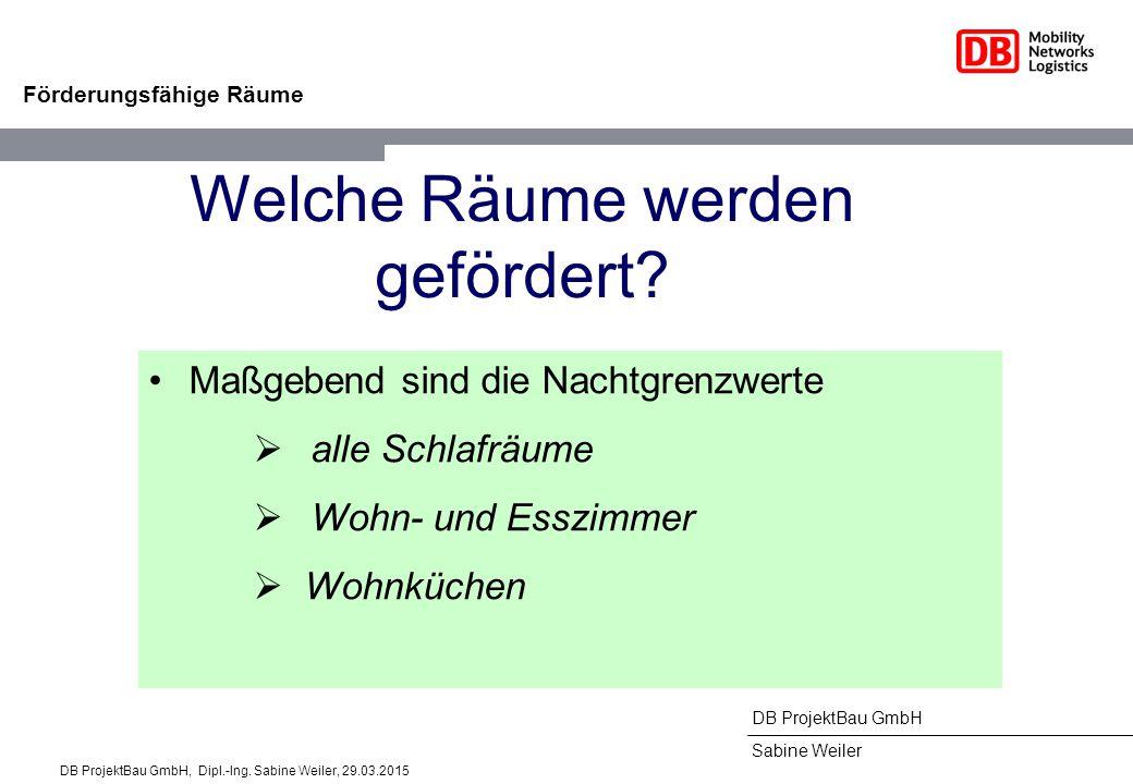 DB ProjektBau GmbH Sabine Weiler Förderungsfähige Räume Welche Räume werden gefördert? Maßgebend sind die Nachtgrenzwerte  alle Schlafräume  Wohn- u