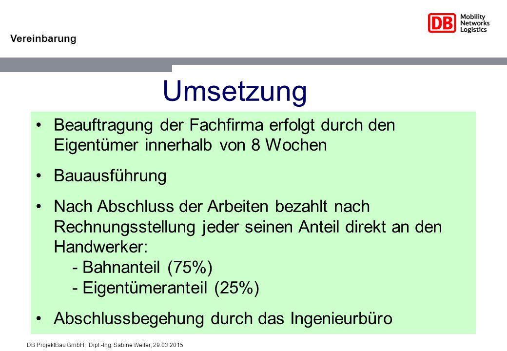 Vereinbarung Umsetzung Beauftragung der Fachfirma erfolgt durch den Eigentümer innerhalb von 8 Wochen Bauausführung Nach Abschluss der Arbeiten bezahlt nach Rechnungsstellung jeder seinen Anteil direkt an den Handwerker: - Bahnanteil (75%) - Eigentümeranteil (25%) Abschlussbegehung durch das Ingenieurbüro DB ProjektBau GmbH, Dipl.-Ing.