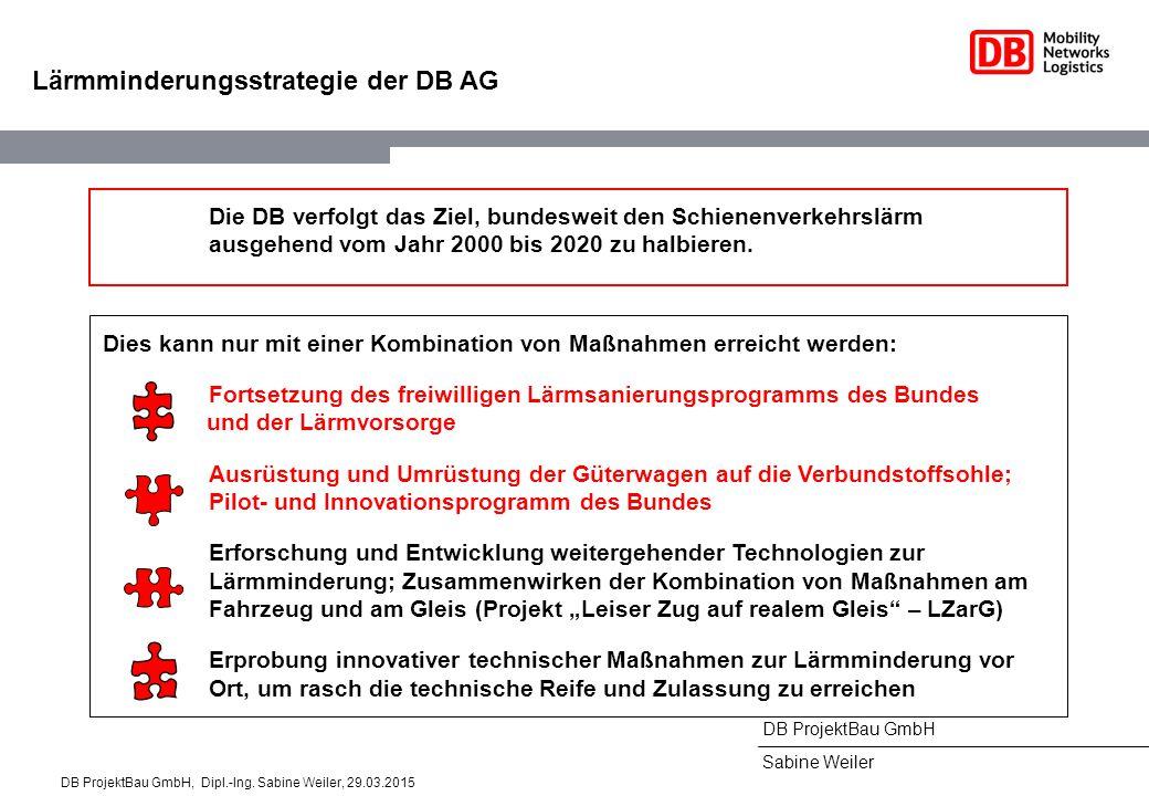 DB ProjektBau GmbH Sabine Weiler Lärmminderungsstrategie der DB AG Die DB verfolgt das Ziel, bundesweit den Schienenverkehrslärm ausgehend vom Jahr 2000 bis 2020 zu halbieren.