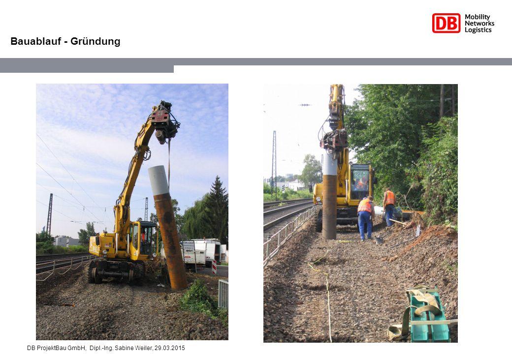 DB ProjektBau GmbH Sabine Weiler Bauablauf - Gründung DB ProjektBau GmbH, Dipl.-Ing. Sabine Weiler, 29.03.2015