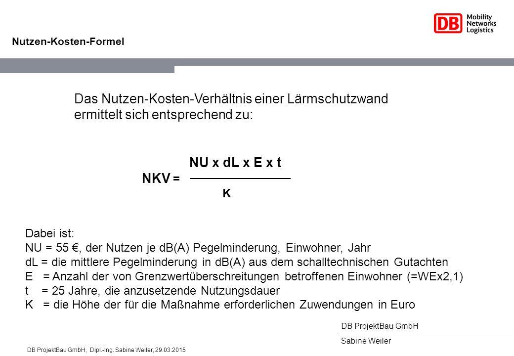 DB ProjektBau GmbH Sabine Weiler Nutzen-Kosten-Formel Das Nutzen-Kosten-Verhältnis einer Lärmschutzwand ermittelt sich entsprechend zu: Dabei ist: NU = 55 €, der Nutzen je dB(A) Pegelminderung, Einwohner, Jahr dL = die mittlere Pegelminderung in dB(A) aus dem schalltechnischen Gutachten E = Anzahl der von Grenzwertüberschreitungen betroffenen Einwohner (=WEx2,1) t = 25 Jahre, die anzusetzende Nutzungsdauer K = die Höhe der für die Maßnahme erforderlichen Zuwendungen in Euro NU x dL x E x t NKV = K DB ProjektBau GmbH, Dipl.-Ing.