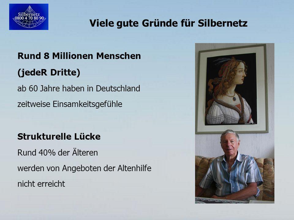 Viele gute Gründe für Silbernetz Rund 8 Millionen Menschen (jedeR Dritte) ab 60 Jahre haben in Deutschland zeitweise Einsamkeitsgefühle Strukturelle Lücke Rund 40% der Älteren werden von Angeboten der Altenhilfe nicht erreicht