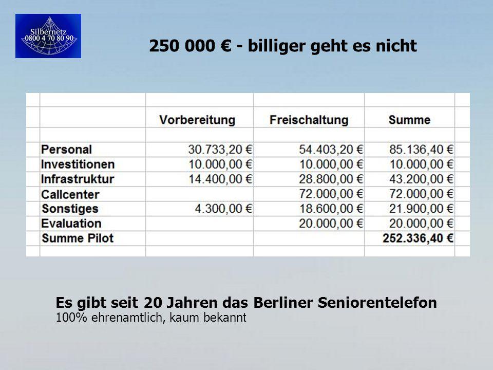 250 000 € - billiger geht es nicht Es gibt seit 20 Jahren das Berliner Seniorentelefon 100% ehrenamtlich, kaum bekann t