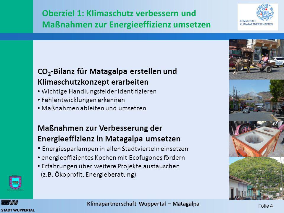 Folie 4 Klimapartnerschaft Wuppertal – Matagalpa CO 2 -Bilanz für Matagalpa erstellen und Klimaschutzkonzept erarbeiten Wichtige Handlungsfelder ident