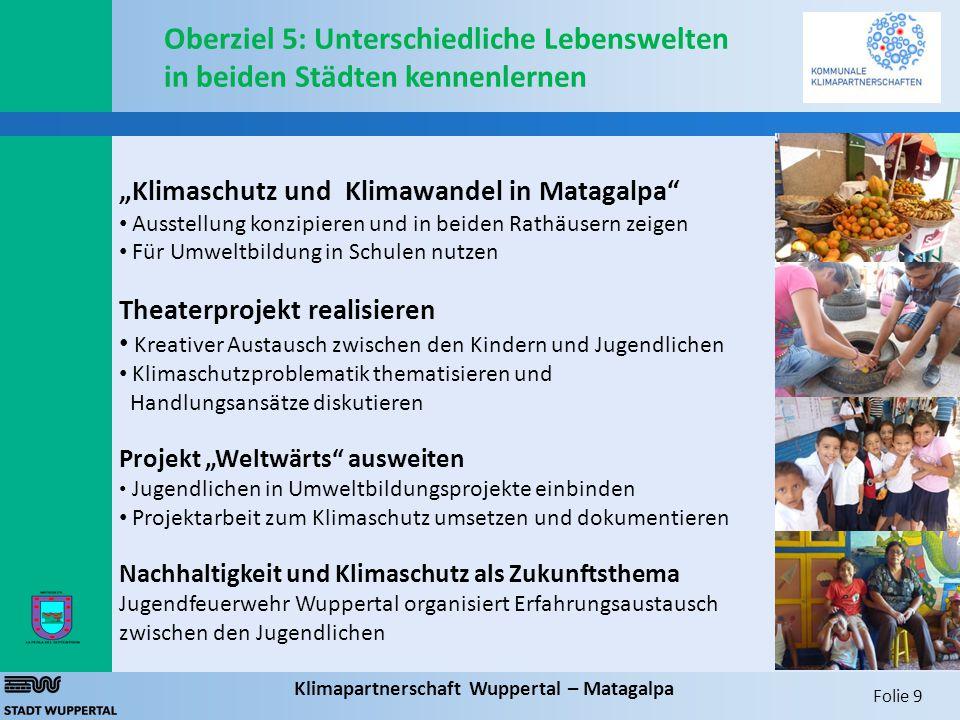 """Folie 9 Klimapartnerschaft Wuppertal – Matagalpa Oberziel 5: Unterschiedliche Lebenswelten in beiden Städten kennenlernen """"Klimaschutz und Klimawandel"""