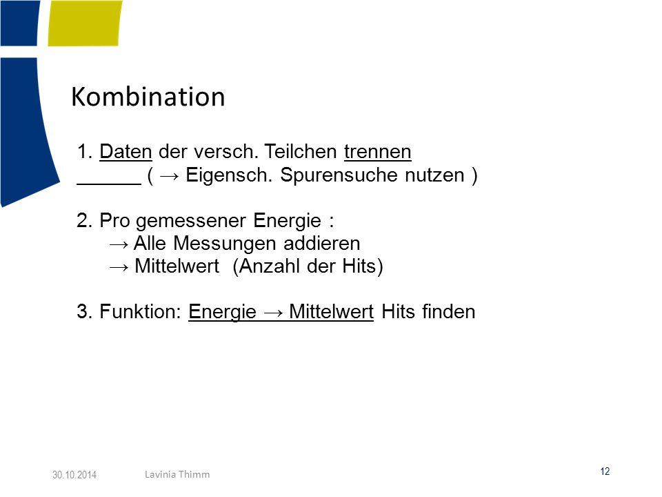Kombination 1.Daten der versch. Teilchen trennen ( → Eigensch.