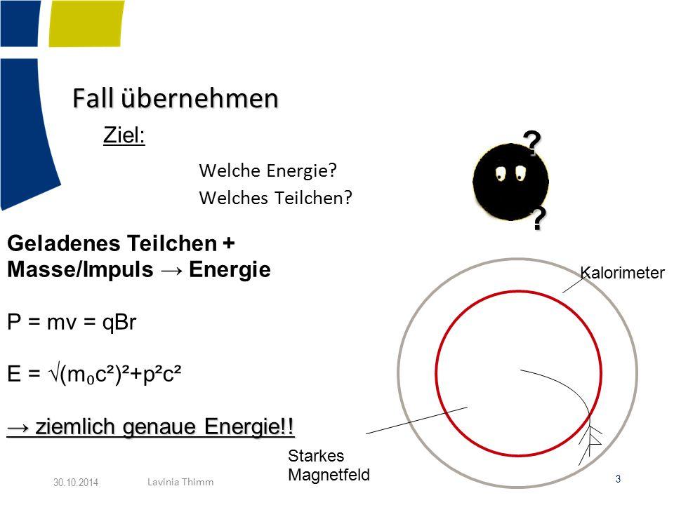 Rahmenbedingungen :  Detektor DHCAL - Prototyp: Hadronisches Kalorimeter (starke Wechselwirkung) - Sandwich Aufbau: Abwechselnd RPC – Detektoren / (1cm) Wolfram – Absorber - 54 Lagen, 1 x 1 cm Panels → sehr genaue Schauerstruktur (500 000 Auslesekanäle) RPC 4 30.10.2014 Lavinia Thimm