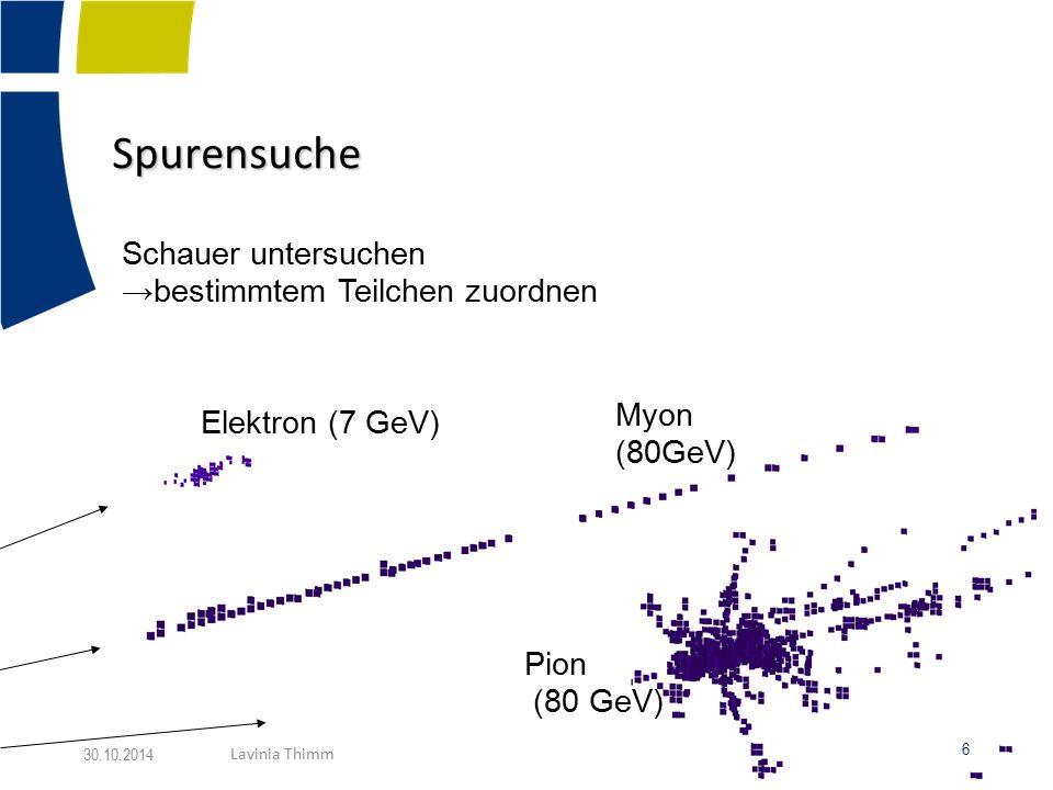 Spurensuche Schauer untersuchen →bestimmtem Teilchen zuordnen Elektron (7 GeV) Myon (80GeV) Pion (80 GeV) 6 30.10.2014 Lavinia Thimm