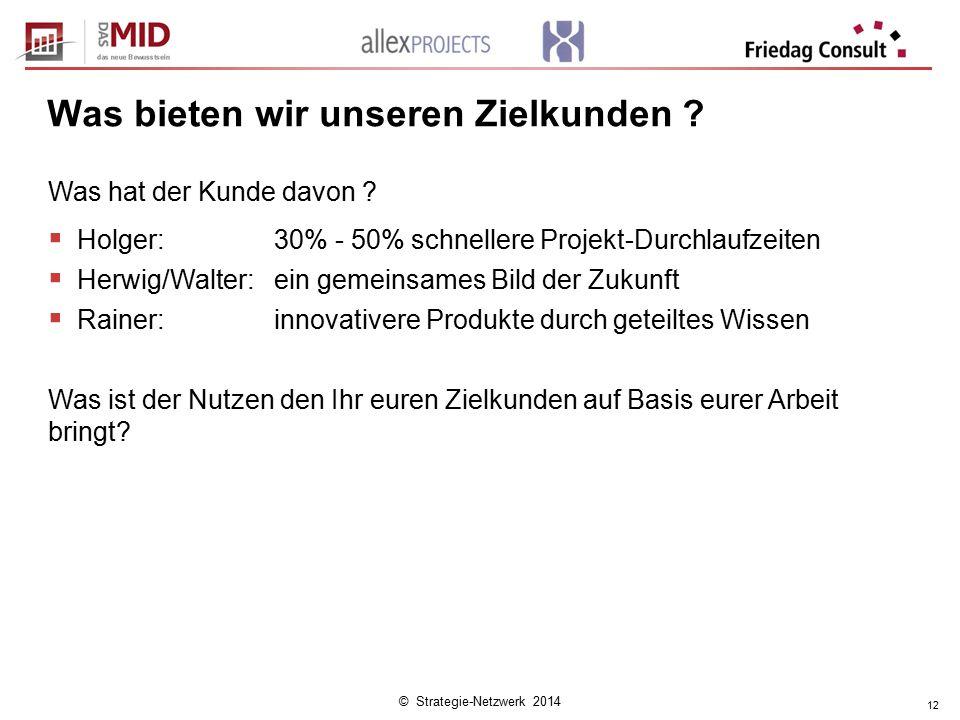 © Strategie-Netzwerk 2014 12 Was bieten wir unseren Zielkunden ? Was hat der Kunde davon ?  Holger: 30% - 50% schnellere Projekt-Durchlaufzeiten  He