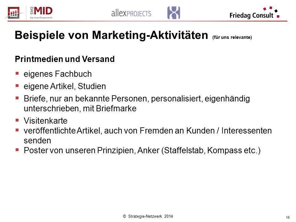 © Strategie-Netzwerk 2014 16 Beispiele von Marketing-Aktivitäten (für uns relevante) Printmedien und Versand  eigenes Fachbuch  eigene Artikel, Stud