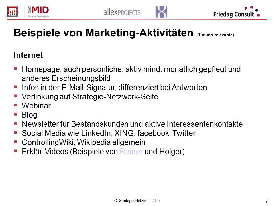 © Strategie-Netzwerk 2014 17 Internet  Homepage, auch persönliche, aktiv mind. monatlich gepflegt und anderes Erscheinungsbild  Infos in der E-Mail-