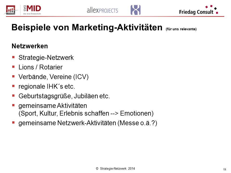 © Strategie-Netzwerk 2014 19 Beispiele von Marketing-Aktivitäten (für uns relevante) Netzwerken  Strategie-Netzwerk  Lions / Rotarier  Verbände, Ve