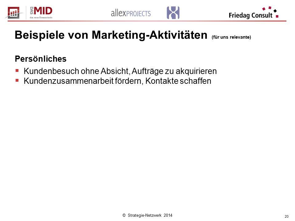 © Strategie-Netzwerk 2014 20 Beispiele von Marketing-Aktivitäten (für uns relevante) Persönliches  Kundenbesuch ohne Absicht, Aufträge zu akquirieren