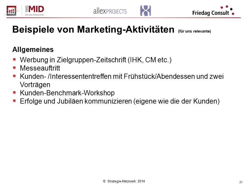 © Strategie-Netzwerk 2014 21 Beispiele von Marketing-Aktivitäten (für uns relevante) Allgemeines  Werbung in Zielgruppen-Zeitschrift (IHK, CM etc.) 