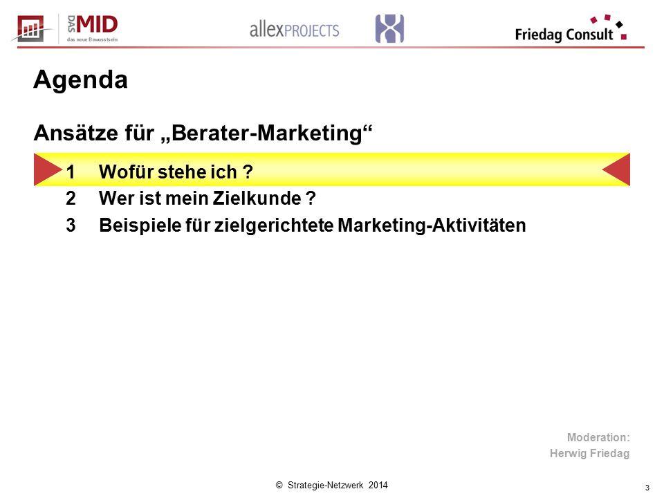 """© Strategie-Netzwerk 2014 3 Agenda 1Wofür stehe ich ? 2Wer ist mein Zielkunde ? 3Beispiele für zielgerichtete Marketing-Aktivitäten Ansätze für """"Berat"""