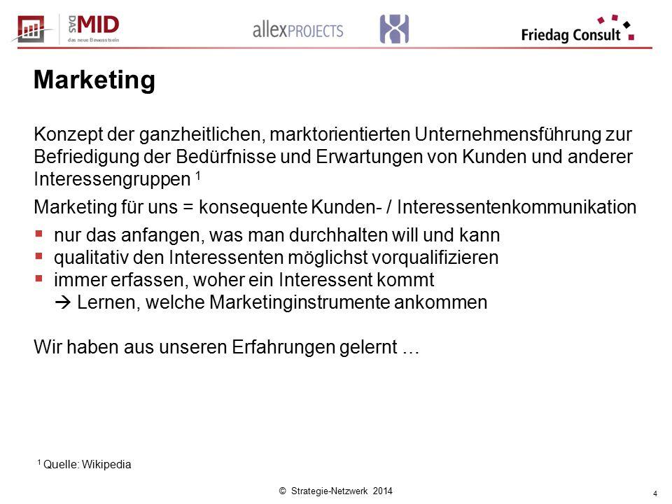 © Strategie-Netzwerk 2014 4 Marketing Konzept der ganzheitlichen, marktorientierten Unternehmensführung zur Befriedigung der Bedürfnisse und Erwartung