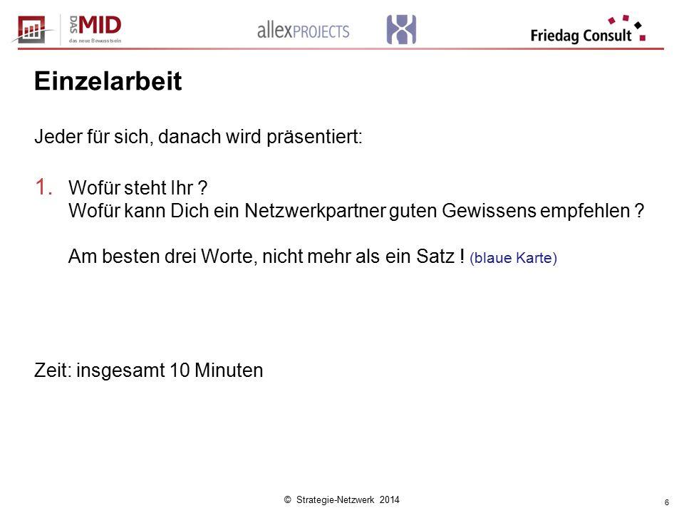 © Strategie-Netzwerk 2014 6 Einzelarbeit Jeder für sich, danach wird präsentiert: 1.