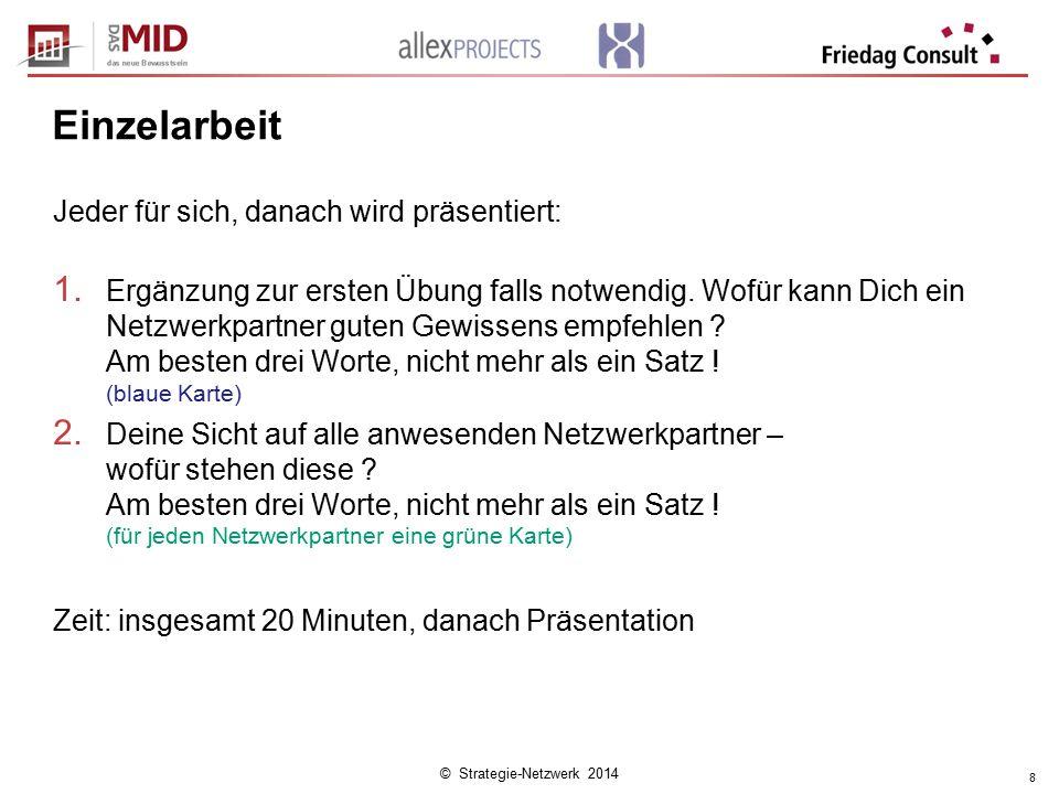 © Strategie-Netzwerk 2014 8 Einzelarbeit Jeder für sich, danach wird präsentiert: 1.
